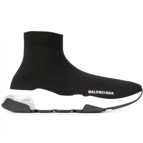 Женские кроссовки Balensiaga SPEED CLEAR SOLE SNEAKER IN BLACK/WHITE