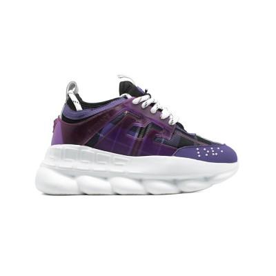 Купить Женские кроссовки Versace Chain Reaction Purple Wool Plaid за 7490 рублей