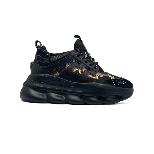Женские кроссовки Versace Chain Reaction Black Canvas