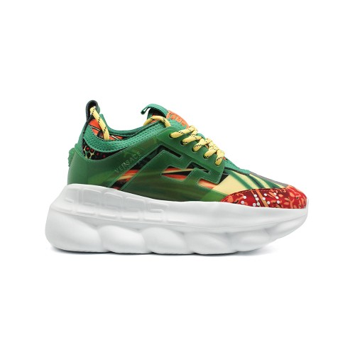 Женские кроссовки Versace Chain Reaction Green Multicolor Print