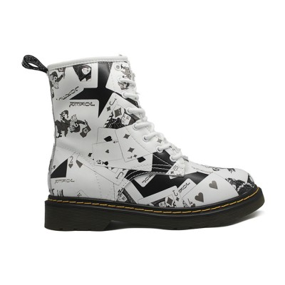 Женские ботинки с мехом Timberland Dr. Martens White/Black  - BeInKeds.ru