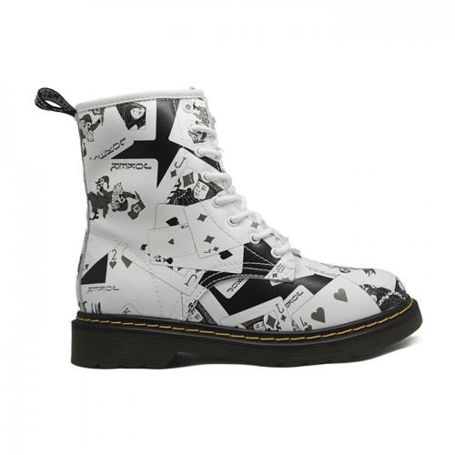 Женские ботинки с мехом Dr. Martens White/Black