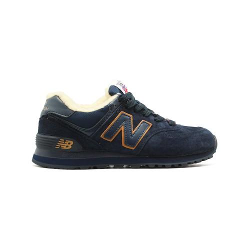 Зимние New Balance Женские 574 Navy Gold
