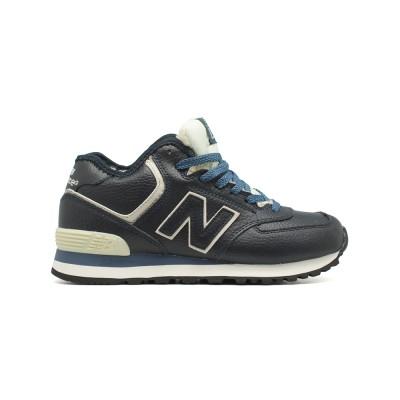 Зимние New Balance Женские 574 High-top Navy Leather