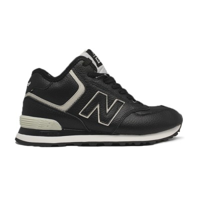 Зимние New Balance Женские 574 High-top Black Leather