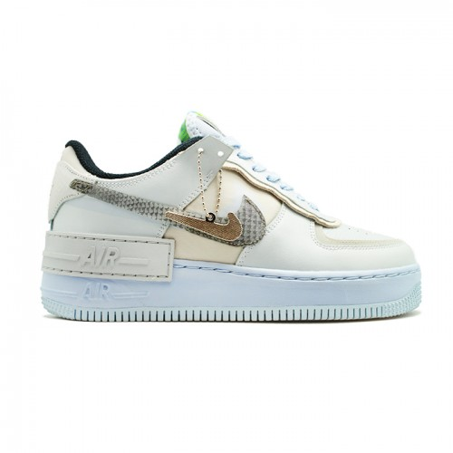 Женские кроссовки Nike Air Force 1 Shadow Pure Platinum Snakeskin Blue
