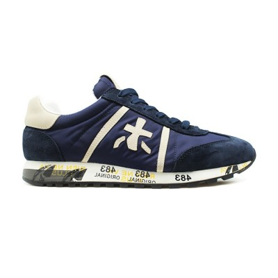 Мужские кроссовки Premiata Lucy Sneakers Blue из очень нежной замши