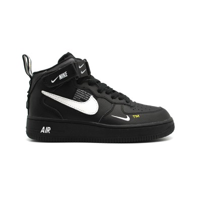 Купить Мужские кроссовки Nike Air Force 1 Mid SE Premium Black на beinkeds.ru