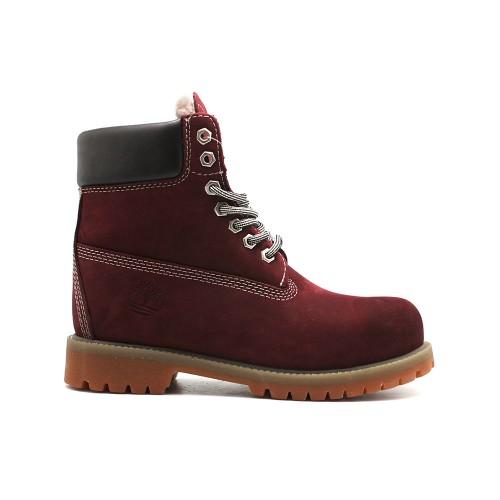 Женские ботинки с мехом Timberland 10061 Bordeaux