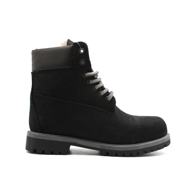 Женские ботинки с мехом Timberland 10061 Black-Grey  - BeInKeds.ru