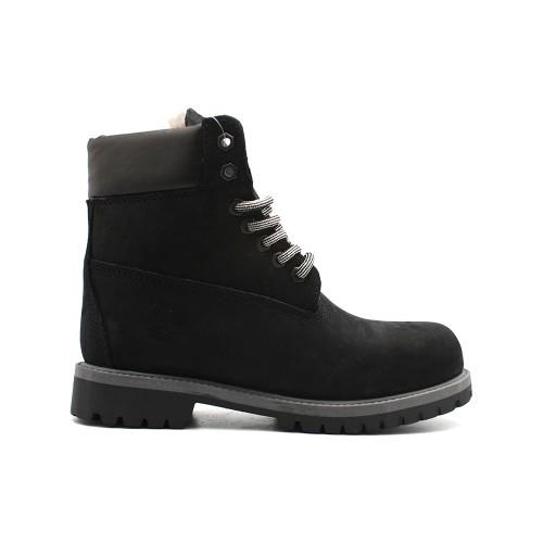 Женские ботинки с мехом Timberland 10061 Black-Grey