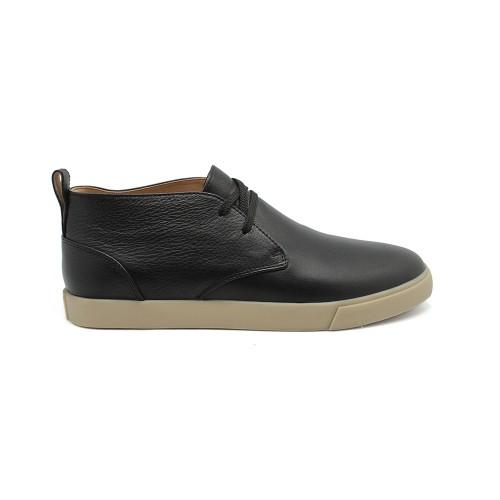 Мужские  высокие кеды Loro Piana Freetime Lace Up Sneakers Black Leather