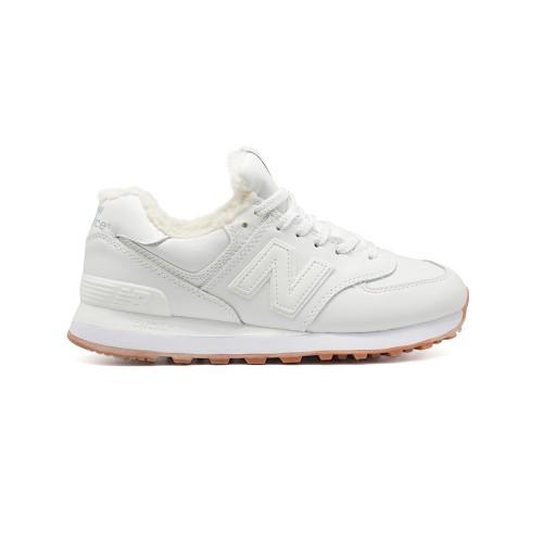 Зимние New Balance Женские 574 White Leather