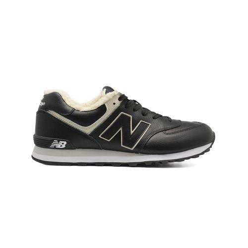 Зимние New Balance Мужские 574 Black Leather
