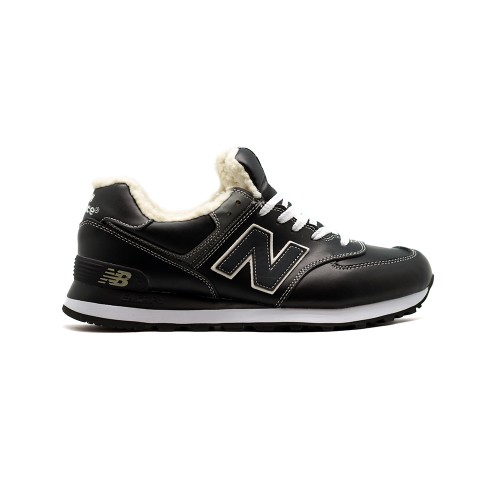 Зимние New Balance Мужские 574 Leather Black