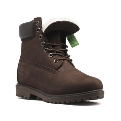 Женские ботинки с мехом Timberland 10061 Brown - BeInKeds.ru