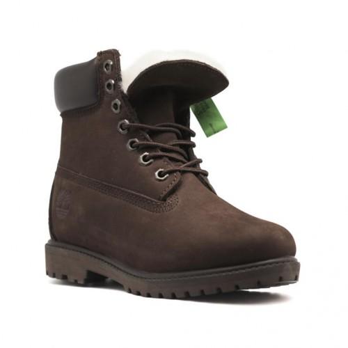 Женские ботинки с мехом Timberland 10061 Brown