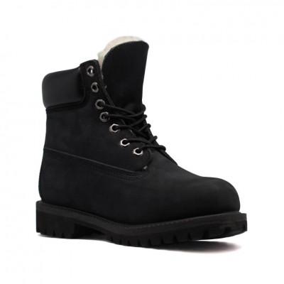 Женские ботинки с мехом Timberland 10061 Black - BeInKeds.ru