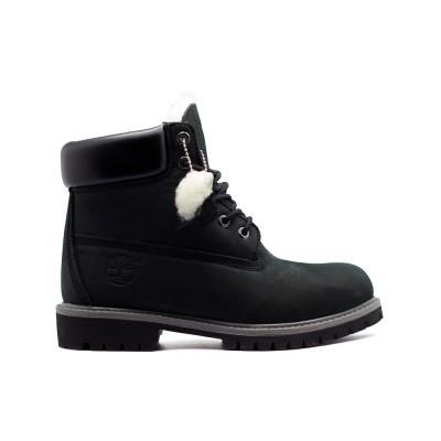 Женские ботинки с мехом Timberland 10061 New Black - BeInKeds.ru