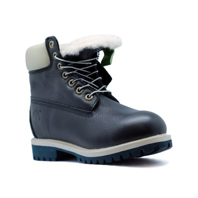 Женские ботинки с мехом Timberland 10061 Navy Leather  - BeInKeds.ru