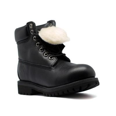 Женские ботинки с мехом Timberland 10061 Black Leather  - BeInKeds.ru