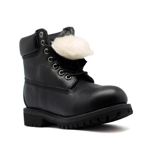 Женские ботинки с мехом Timberland 10061 Black Leather