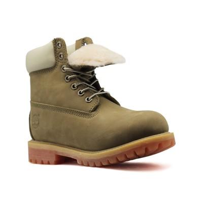 Женские ботинки с мехом Timberland 10061 Olive  - BeInKeds.ru