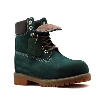 Женские ботинки с мехом Timberland 10061 Emerald  - BeInKeds.ru