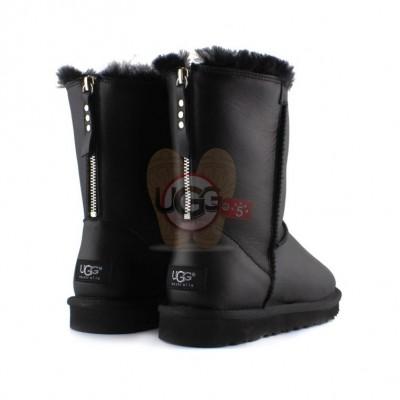 Short One Zip Black Leather - кожаные
